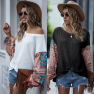 Printed Stitching Long-sleeved Bohemian Casual T-shirt Top NSDF2602