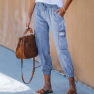 Solid Color Casual Pants Autumn New Loose Pocket Decoration Lace Elastic Waist Cropped Pants  NSSI2814