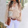 Autumn Hollow Lantern Sleeve Round Neck Pullover Ladies Shirt NSSI2815