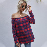 Casual One-word Collar Plaid Button Decoration Slim-fit Top NSDF2825