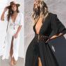 Women's Lace Stitching Lace-up Long Shawl Cardigan Jacket Bikini NSYF2827