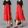 Loose Fashion Cotton Stitching Linen Dress NSYF2841