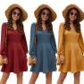 V-neck Solid Color Long-sleeved Waist Big Swing Dress NSAL2868