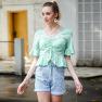 New Women's V-neck Pleated Tie-dye Top T-shirt NSAL2891