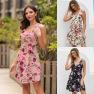 Strap Tight Sexy Sling Print Dress   NSAL2915