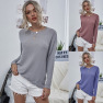 New Style Casual Women S Round Neck Loose Back Halter Retro Solid Color Long-sleeved Shirt NSDF3048