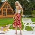 print irregular slim fishtail skirt dress NSAL3524
