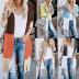 three-color stripe stitching long sweater cardigan NSYF3637