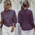 women's autumn and winter half high collar lotus leaf sleeve geometric pattern printing top NSYD3715