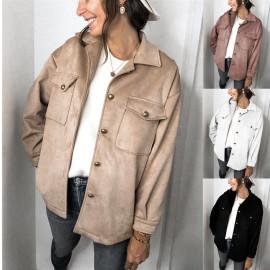 Autumn And Winter Hot Sale New Fashion Solid Color Long-sleeved Pocket Deerskin Velvet Jacket NSYD3727