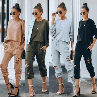 Autumn And Winter Hot Sale New Fashion Casual Sports Burnt Hole Suit NSYD3728