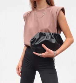 Wholesale Autumn 8-color Shoulder Pad Women's T-shirt  NSAM4211