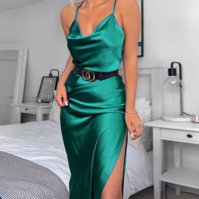 Summer New Slim One-step Sexy Split Neck Suspender Dress  NSAG5286