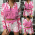 new hot style women's tie-dye printing stitching long-sleeved hooded home set NSKX5793