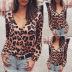 women's leopard print long-sleeved V-neck sexy shirt  NSKX5794