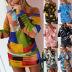 women's color contrast printing irregular long-sleeved dress NSKX5809
