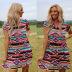 women's printed short-sleeved V-neck loose casual dress NSKX5950