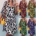 summer new style women's loose V-neck printed dress NSKX5985