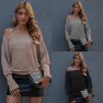 Hot Sale Simple One-line Neck Loose Pullover Top  NSAL1903