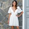 V-neck Ruffle Sleeve Slim Dress NSAL1904