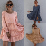 Round Neck Long Sleeve Pure Color Loose Cake Skirt Dress NSAL1934