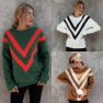 Hot Sale Autumn And Winter Striped Loose Long Sleeve Turtleneck  NSAL1950