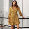 V-neck Solid Color Sleeve Large Skirt Dress NSAL1969