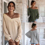 Autumn And Winter New Solid Color V-neck Fashion Top Casual Women's Clothing NSAL1974
