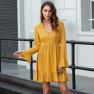 Solid Color V-neck Fashion Flared Sleeve Dress NSAL1976