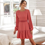 Women's Solid Color Open Back Lace Stitching Puff Sleeve Dress NSAL1977