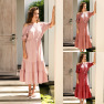 Solid Color One-piece Round Neck Dress NSAL2101