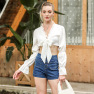 Solid Color Tie V-neck Puff Sleeve Short Long Sleeve  NSAL2109