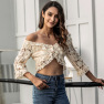 New Autumn Stand-alone Pure Color Lace Slim Slim Crop Top NSAL2144