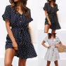 Fashion Sexy Polka Dot Print V-neck Button Lace Chiffon Dress NSYF2159