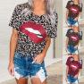 Summer Lips Fashion Print Leopard Round Neck Short Sleeve T-shirt Top  NSYF2171