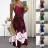 Slim Fit V-neck Positioning Flower Sling Big Dress NSYF2176