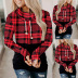 fall/winter plaid hooded lace-up padded sweater  NSKX7783