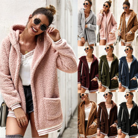 Women's Hooded Fur Coat Long Top NSDY8183