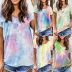 women's gradient color tie-dye short-sleeved loose T-shirt  NSKX8460