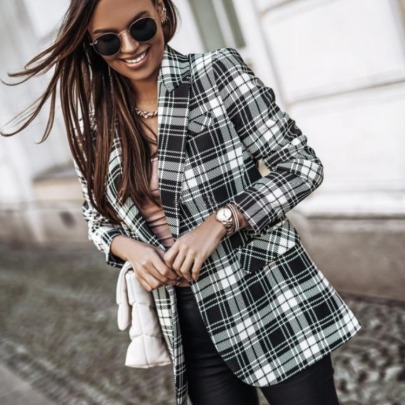 Autumn And Winter Long-sleeved Double-breasted Plaid Printed Suit Jacket  NSYD9382