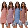 Fashion Trend Slim Fold Waist Dress  NSAL14203