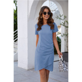 Tendencia De La Moda Vestido Delgado Con Cintura Doblada NSAL14203