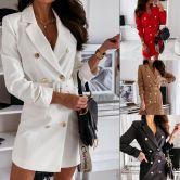 Long Sleeve Belt Color Suit Dress NSYD6947