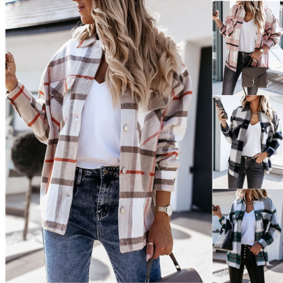 Autumn And Winter Long-sleeved Printed Plaid Shirt  NSYD15132