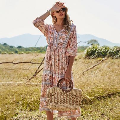 V-neck High Waist Bohemian Dress NSDF23858