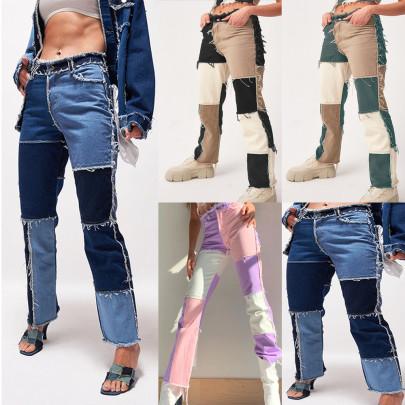 High Elastic Stitching Raw Edge Straight Jeans NSYF16983