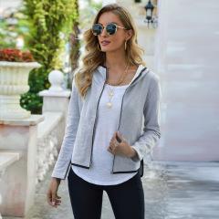 casual hooded collar zipper jacket  NSJR17244