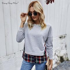 fake two-piece splicing slim round neck long-sleeved sweatershirt NSJR17173