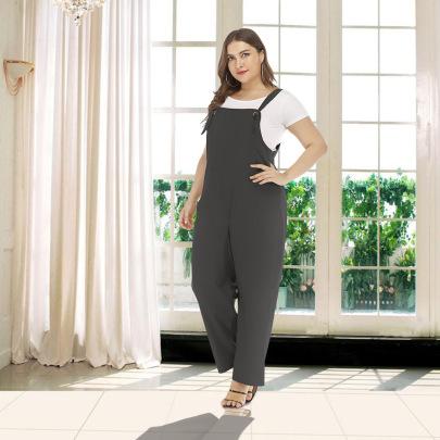 Plus Size Solid Color Wild Loos Jumpsuit NSJR17205