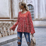 Autumn And Winter Round Neck Hem Stitching Ruffled Polka Dot Printing Long-sleeved Women S Blouse Wholesale NHDF8
